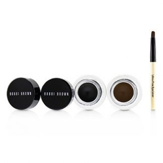 BOBBI BROWN LONG WEAR GEL EYELINER DUO: 2X GEL EYELINER 3G (BLACK INK, SEPIA INK) + MINI ULTRA FINE EYE LINER BRUSH  3PCS