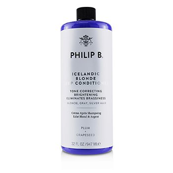 PHILIP B ICELANDIC BLONDE DEEP CONDITIONER (TONE CORRECTING BRIGHTENING ELIMINATES BRASSINESS - BLONDE, GRAY, SILVER HAIR)  947ML/32OZ