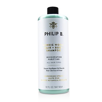 PHILIP B NORDIC WOOD HAIR + BODY SHAMPOO (INVIGORATING PURIFYING - ALL HAIR TYPES)  947ML/32OZ